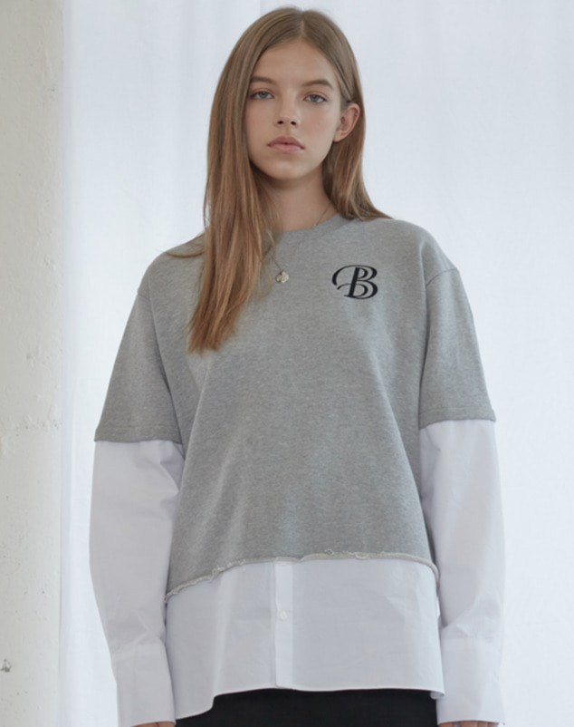 [SALE 30%] Grey Combi Sweat Shirts