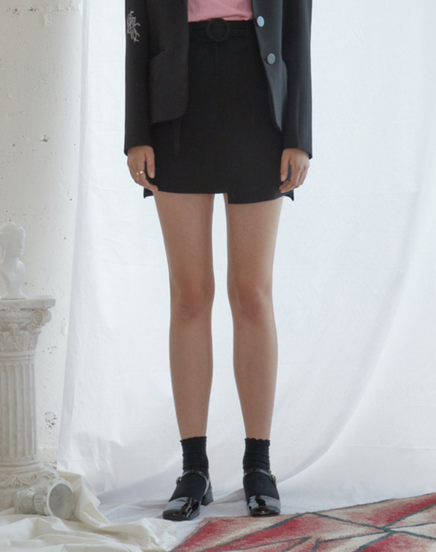 [SALE 30%]Black Unbalance Mini Skirt