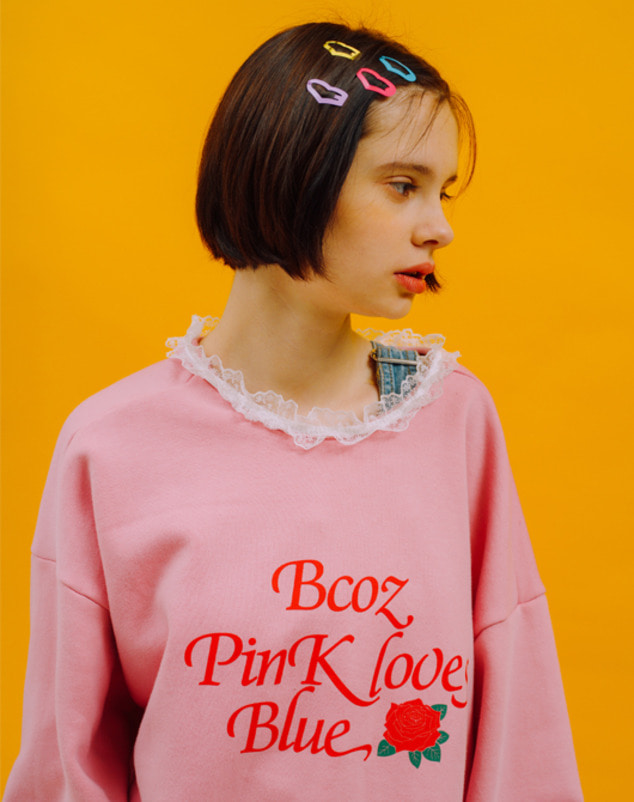 Lace Rose Sweatshirt_Pink