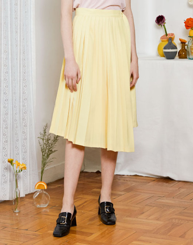 [SPRING SALE 20%] Pleated Wrap Skirt_Yellow