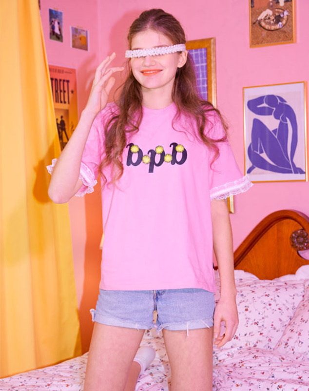 [SALE 30%]Logo Flower Lace T-Shirt_Pink