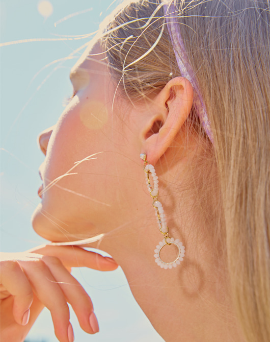[SALE 10%]Ice Bubble Unbalance Earring (White)