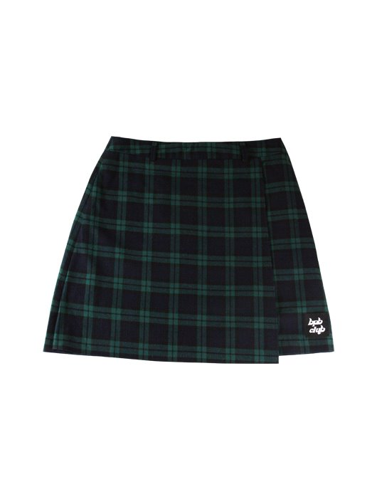 BPBCLUB CHECK WRAP SKIRT_GREEN
