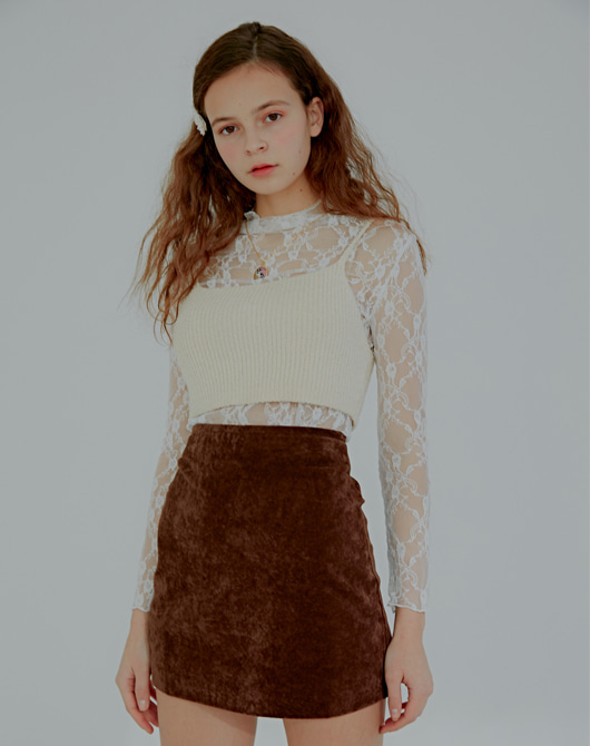 [Season off 20%] Edma Velvet Mini Skirt_Dark Brown